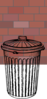 Trash Can In Front Of Brick Clip Art