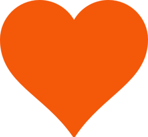 Simple Orange Heart Clip Art