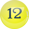 Yellow Lottery Ball #12 Clip Art