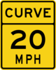 Curve 20 Mph Road Sign Clip Art