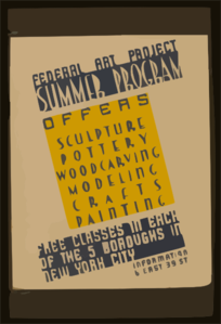 Federal Art Project Summer Program Offers Sculpture, Pottery, Woodcarving, Modeling, Crafts, Painting : Free Classes In Each Of The 5 Boroughs In New York City. Clip Art