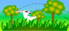 White Rabbit In Grass Clip Art