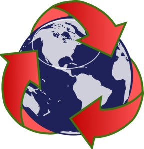 Red Recycling Globe Clip Art