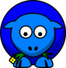 Sheep Blue Two Toned Looking Down Clip Art