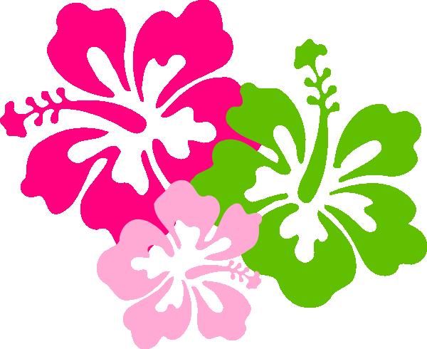 Hibiscus Pink Green clip art - vector clip art online, royalty ...