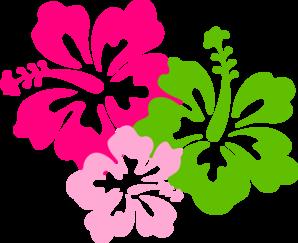 Hibiscus Pink Green Clip Art