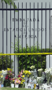 Following The Tragic Loss Of Life By Terrorist Events In New York, Washington D.c., And Pennsylvania, Mourners Have Placed Flowers And Candles Outside The U.s. Embassy In Panama City, Panama Clip Art