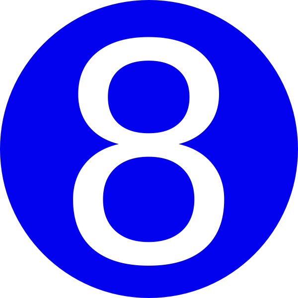 Blue Number 8 Blue, rounded,with number 8