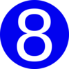 Blue, Rounded,with Number 8 Clip Art