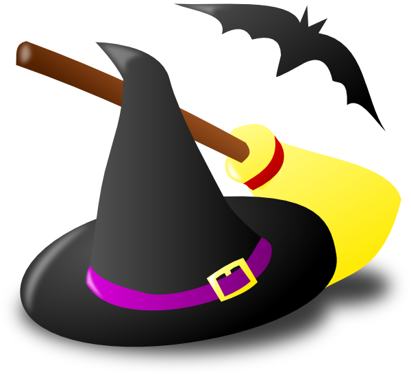 Witch Hat Broom Bat Clip Art at Clker com - vector clip art online
