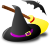 Witch Hat Broom Bat Clip Art