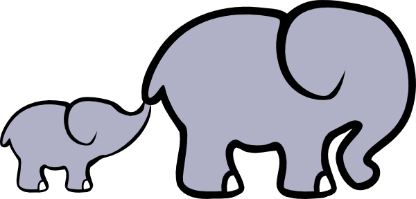 Baby Elephant And Adult Elephant Clip Art at Clker.com ...