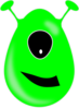 One Eye Green Alien Clip Art