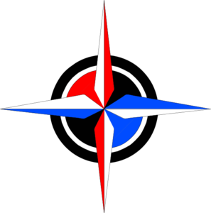 Blue & Red Compass Rose Clip Art