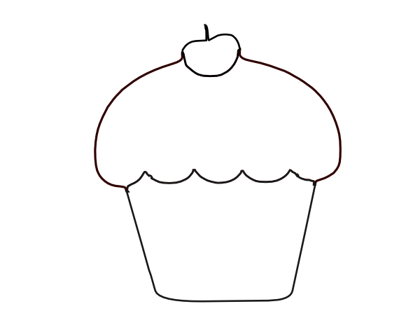 cup cake outline clip art at clker com vector clip art online