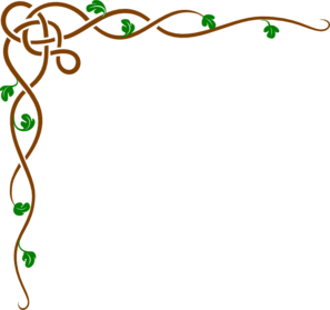 Brown Celtic Vine W/green Leaves Clip Art