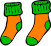 Orange Green Sock Clip Art