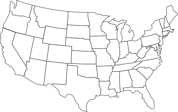 Free USA States Map Black And White States Map Black And White Us - Map of us clip art