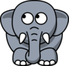 Elephant Looking Left-up Clip Art