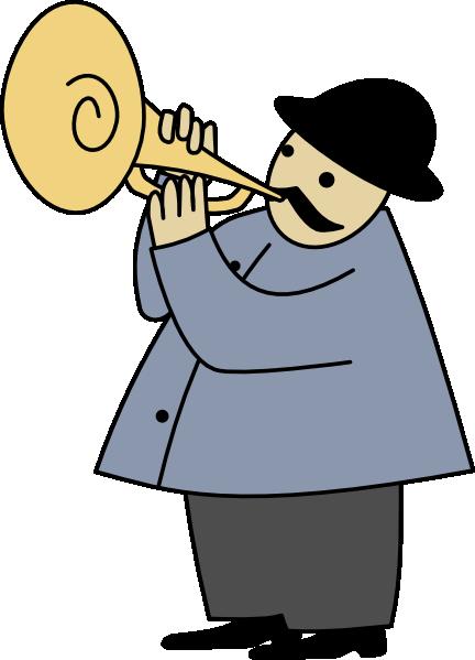 Trumpet player silhouette clip art