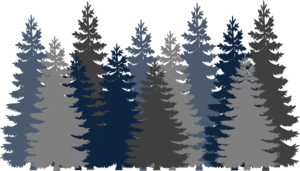 Navy Blue Tree Forest Clip Art