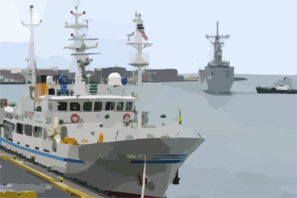 The Guided Missile Frigate Uss Reuben James (ffg 57) Prepares To Pass The New Japanese Fishing Training Vessel Ehime Maru While Pulling In To Honolulu, Hawaii Clip Art