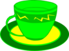Teacup Yellow Green Clip Art