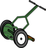 Cartoon Push Reel Lawn Mower Clip Art
