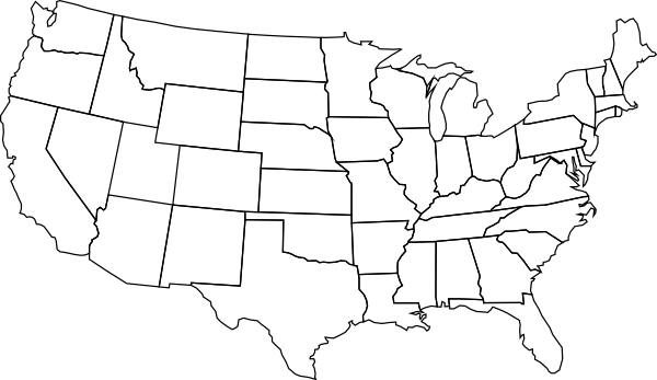 Blank Us Map Clip Art At Clkercom Vector Clip Art Online - Unlabelled map