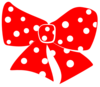 Red Bow With White Polka Dots Clip Art