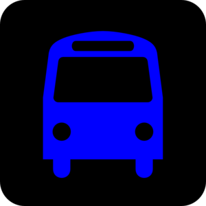 Bus Station Icon Black Blue Clip Art