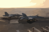 Two F/a-18c  Hornets  Assigned To The  Golden Dragons  Of Strike Fighter Squadron One Nine Two (vfa-192) Sit Prepared For A Quick Launch If Necessary Clip Art