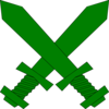 Green Crossed Swords Clip Art