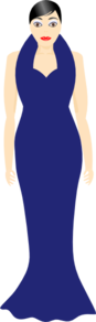 Woman In A Blue Dress Clip Art