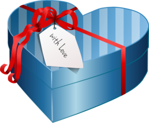 Valentine Heart Gift Box Clip Art