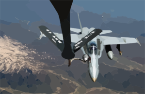 An F/a-18 Hornet Strike Fighter Embarked Aboard Uss Harry S. Truman (cvn 75) Receives Fuel From An Air National Guard Boeing Kc-135 Stratotanker. Clip Art