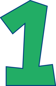 Number One (green) Clip Art