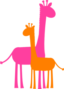 Mother And Baby Giraffe Sillouette Clip Art
