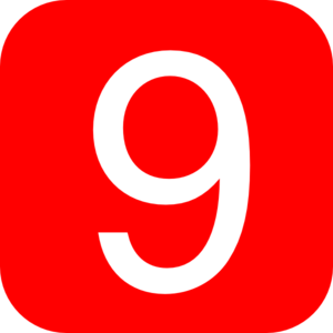 Red, Rounded, Square With Number 9 Clip Art