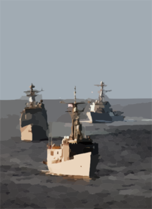 He Guided Missile Frigate Uss Ford (ffg 54), Guided Missile Cruiser Uss Lake Champlain (cg 57) And Guided Missile Destroyer Uss Howard (ddg 83) Maneuver To Establish A Multi-ship Column Formation Clip Art