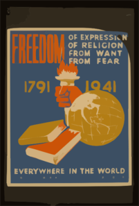 Freedom Of Expression, Of Religion, From Want, From Fear Everywhere In The World Clip Art
