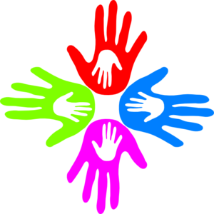 Four Colored Hands 4 Clip Art