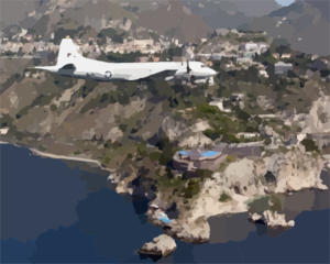 A P-3c Orion Aircraft Assigned To The Tigers Of Patrol Squadron Eight (vp-8) Flies Along The Coastline Of Taormina, Sicily. Clip Art