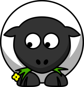 Sheep Looking Left-down Clip Art