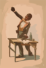 [african American, Standing At Desk, With One Hand Resting On Papers And One Hand Raised] Clip Art