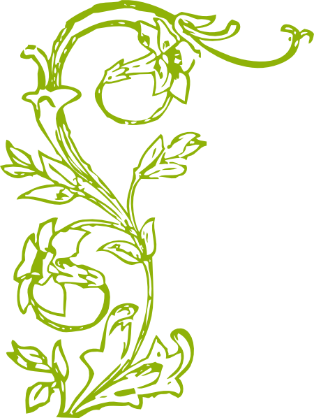 Green Flower Line Drawing : Green vine and flowers clip art at clker vector