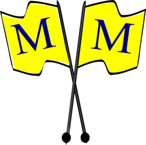 Crossed Yellow Flags With Blue  M  Clip Art