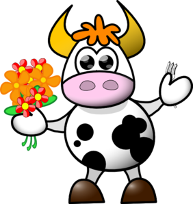 Cow With Flowers And Fork Clip Art