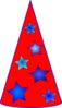 Blue Stars On Red Thinking Hat Clip Art