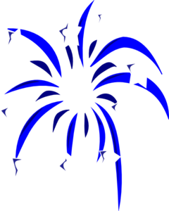 Blue Fireworks With White Stars Clip Art